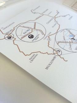 Custom design wedding map Sydney Au