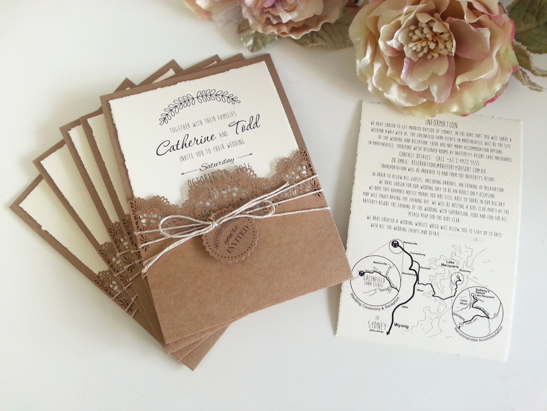 Rustic theme with Laser cut pocket Wedding Invitations Sydney.jpg