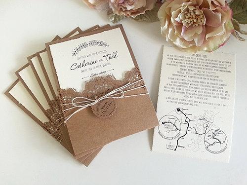 Rustic Theme With Laser Cut Pocket Wedding Invitations Sydney Jpg