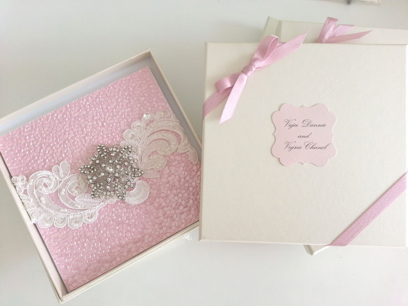Christening girl hardcover invitations with dimantes clutch sydney.jpg