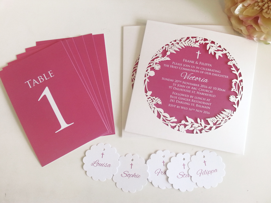 Unique Christening girl invitations Sydney lasercut White Pink Australia.jpg