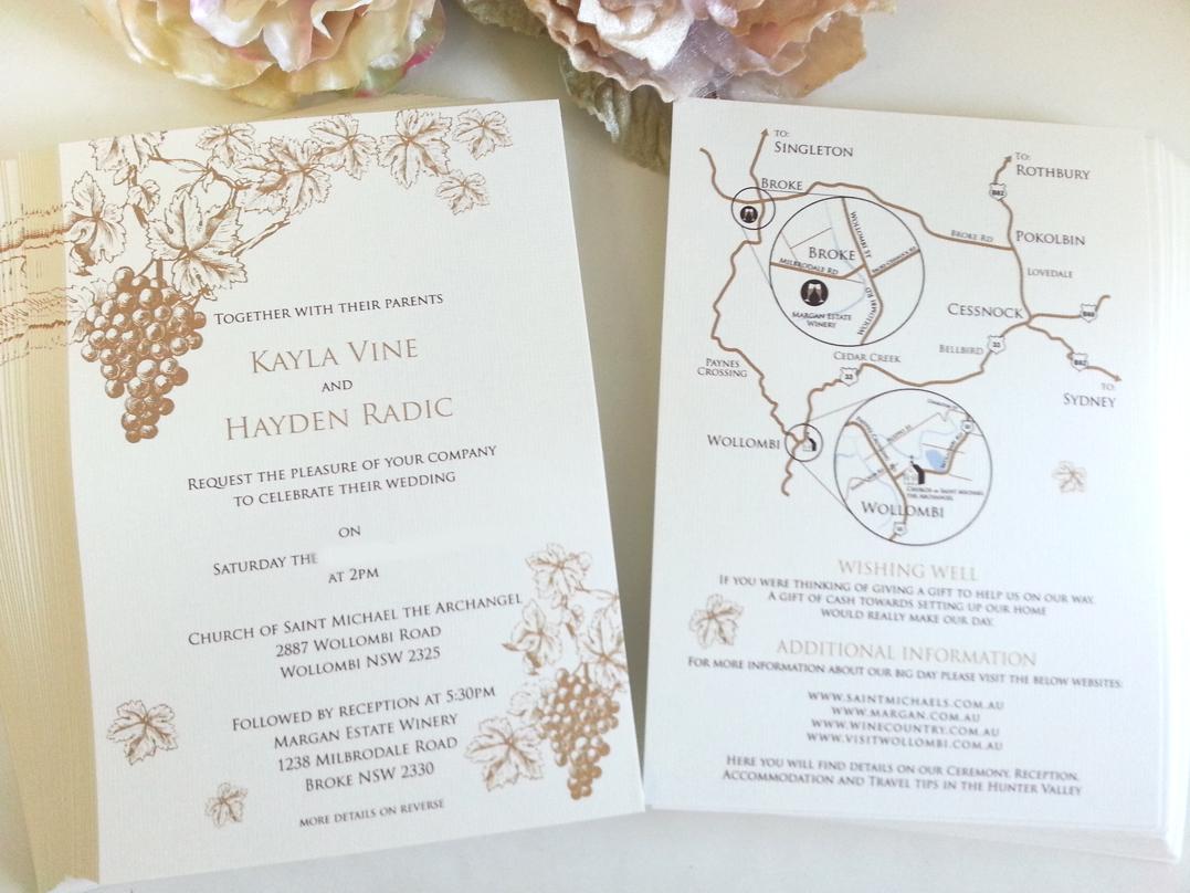 Vineyard rustic grapes monogram Wedding Invitations Sydney.jpg