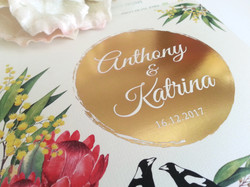Gold foil Australian native magpie wattle gum leaves Sydney Australia Wedding Invitation 2