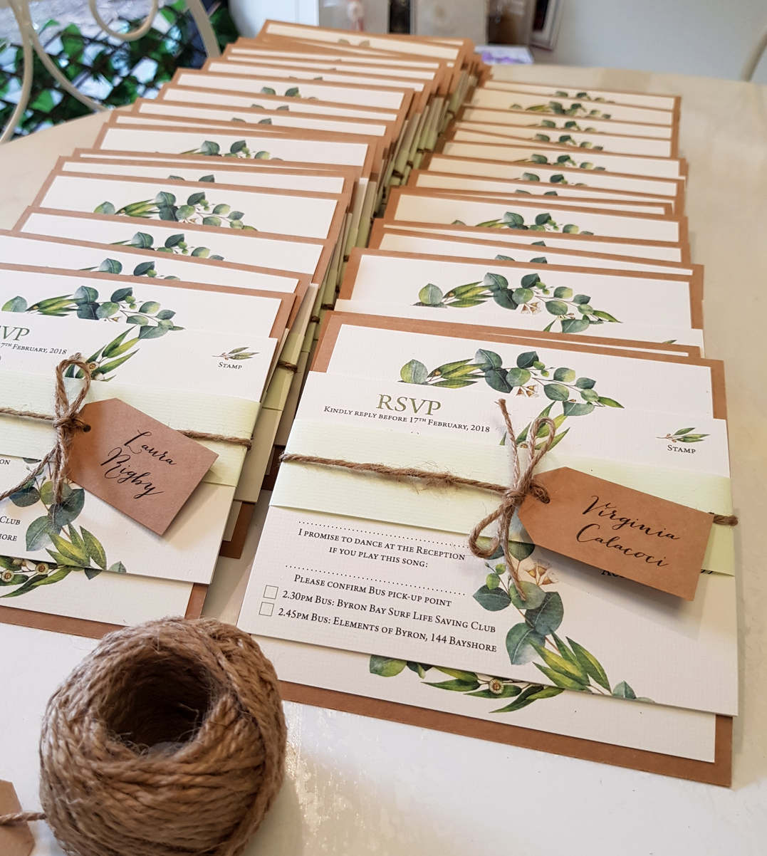 Nature Gum leaf wreath wedding invitations Sydney Australia rustic natural