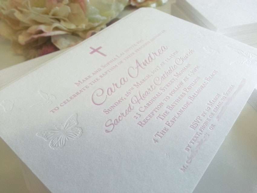 Christening Baptism Girl Boy letterpress thick card invitation Sydney Australia Butterfly cross.jpg