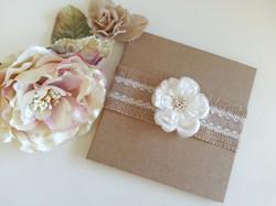 Rustic Hessian Kraft Burlap hard cover wedding invitations with white flower.jpg
