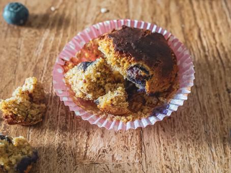 Muffins ai mirtilli, al profumo di vaniglia e limone (senza glutine)