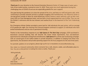 Thank You Letter from Concord Coalition To End Homelessness on July 21, 2020