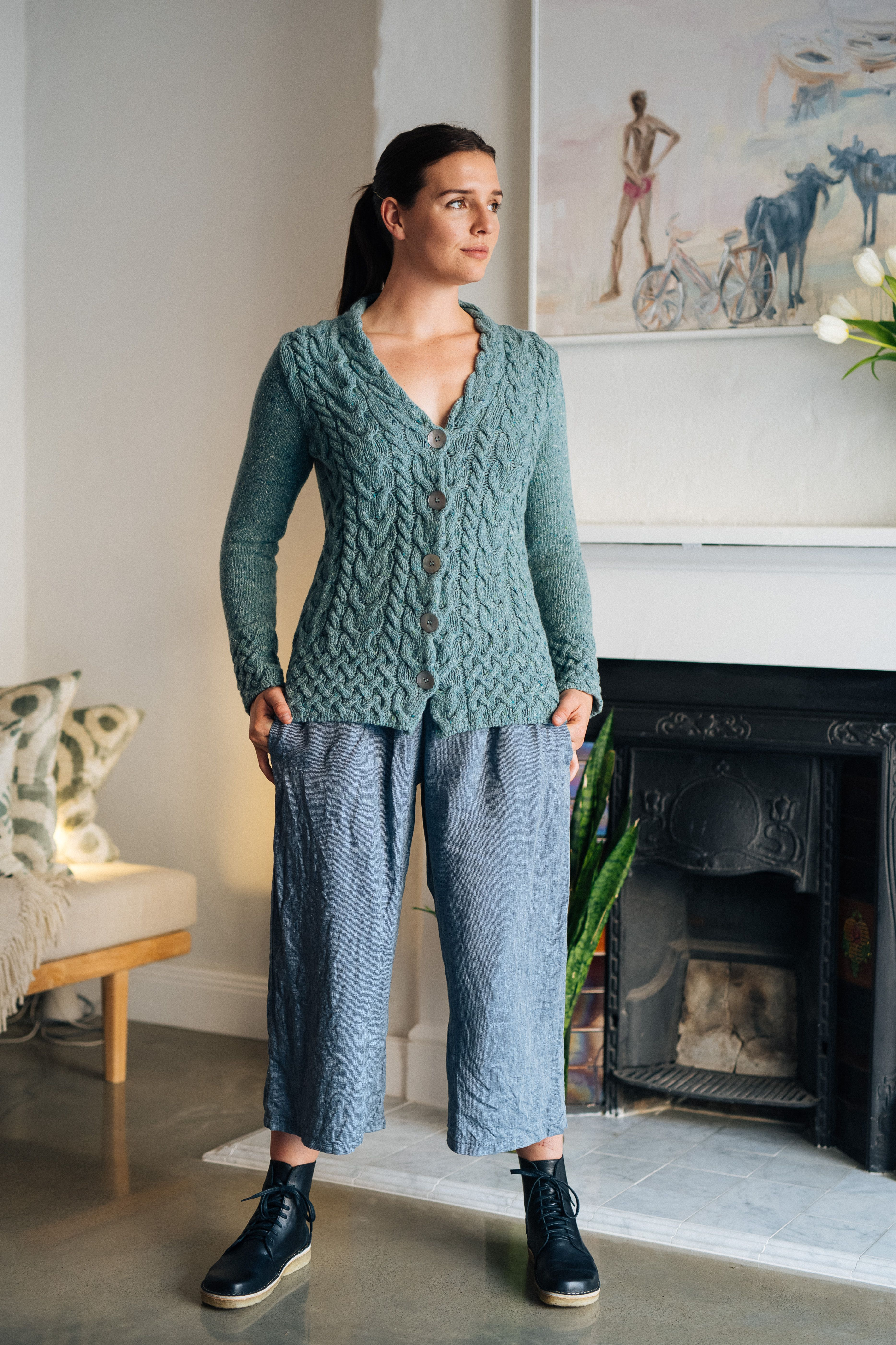 green cable cardi and blue Olivia