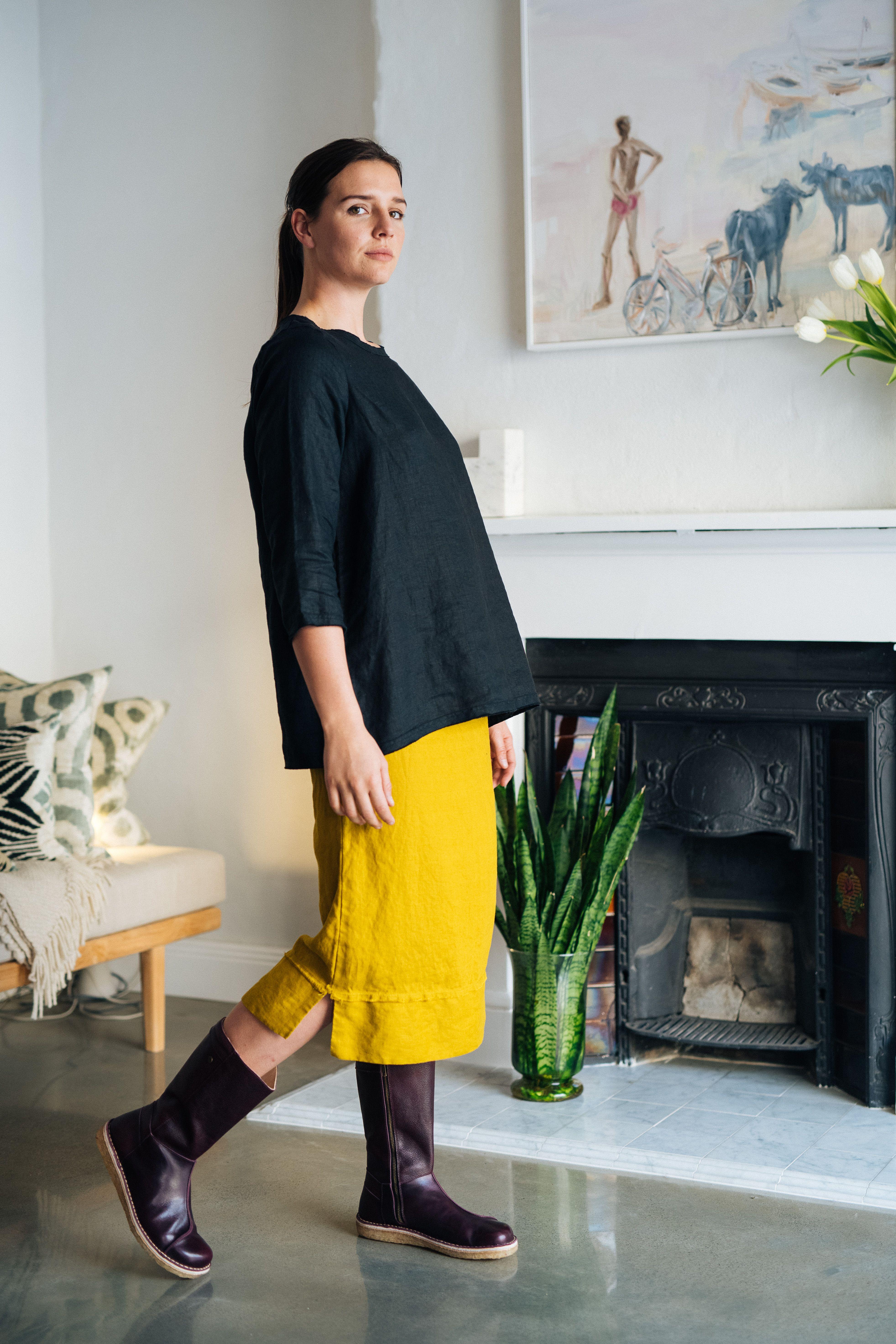 Chartreuse skirt, Fran top and Bota plum