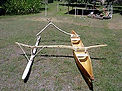 In all other  Pacific canoes the ama is attached to the 'iako by a series of smaller sticks