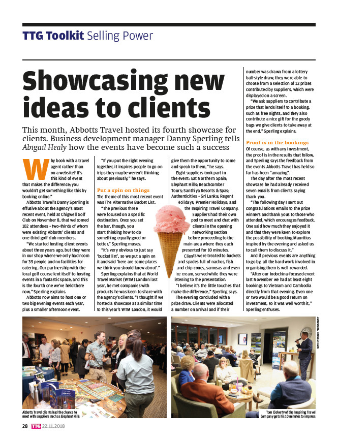 Showcasing new ideas to clients, TTG Magazine