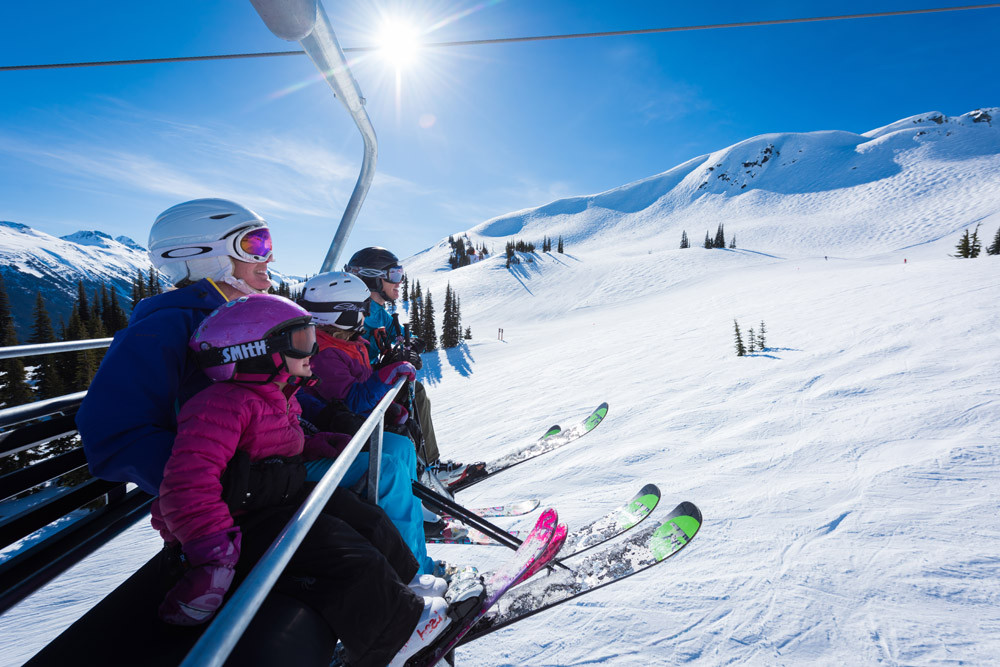 Kids on chairlift, Whistler. Credit Mike Crane