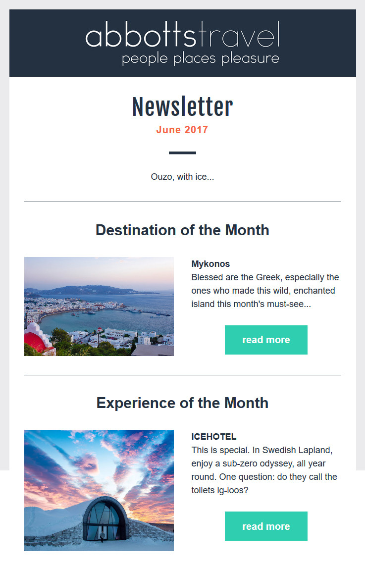Abbotts Travel - June 2017 Newsletter