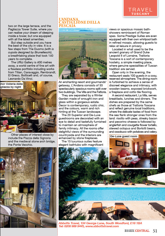 Tempting Tuscany, Essex Central Magazine - July 2016 - p51