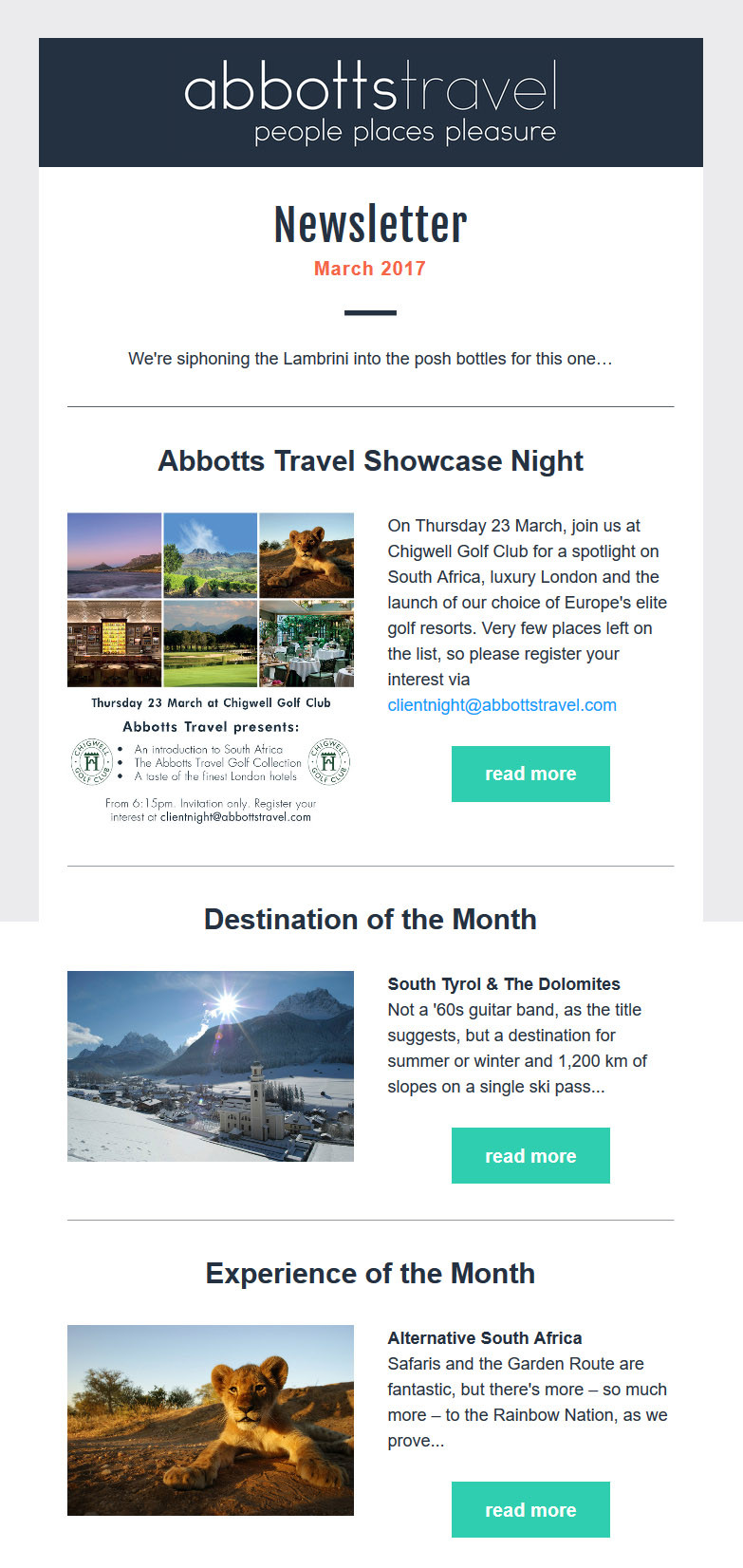 Abbotts Travel - March 2017 Newsletter