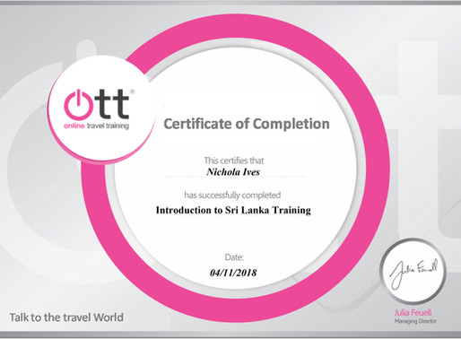 Nicky Ives has completed the introduction to Sri Lanka online travel training programme