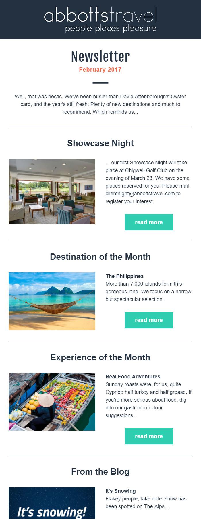 Abbotts Travel - January 2017 Newsletter