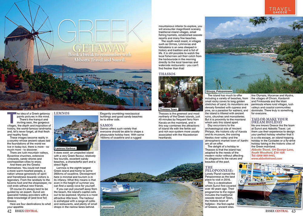 Greek Getaway, Essex Central Magazine - September2016 p49