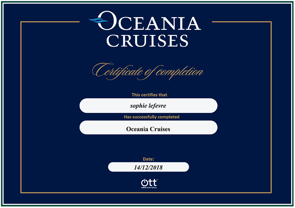 Oceania Cruises online training programme