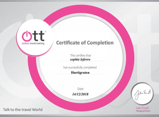 Sophie LeFevre has completed the Hurtigruten online training programme