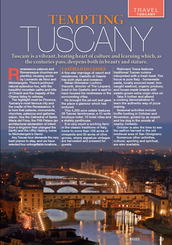 Tempting Tuscany, Essex Central Magazine - July 2016 p49