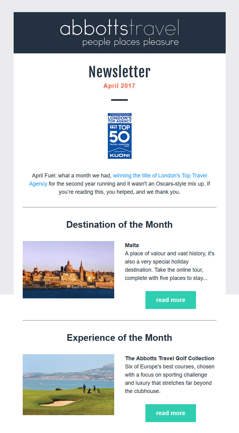 Abbotts Travel - April 2017 Newsletter