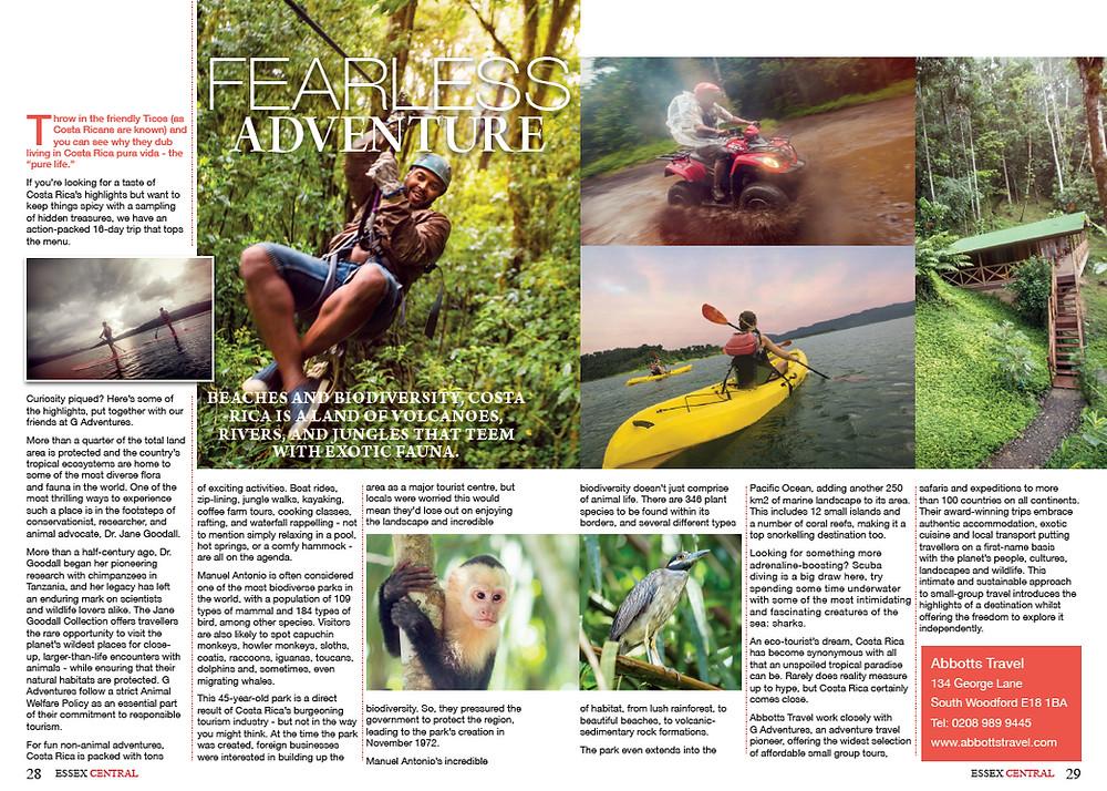 Fearless Adventure in Costa Rica, Essex Central Magazine