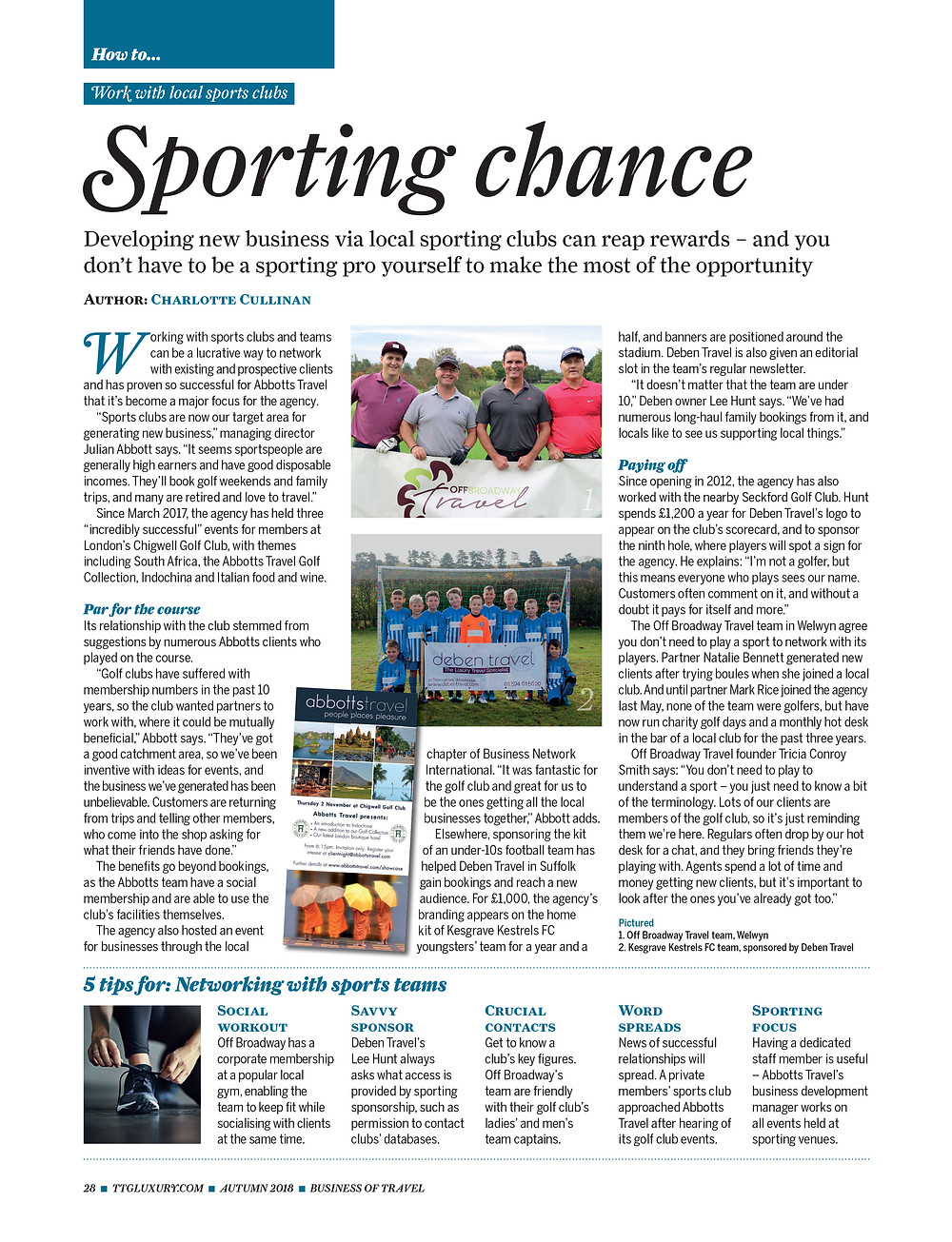 How to work with local sports clubs, TTG Luxury Magazine