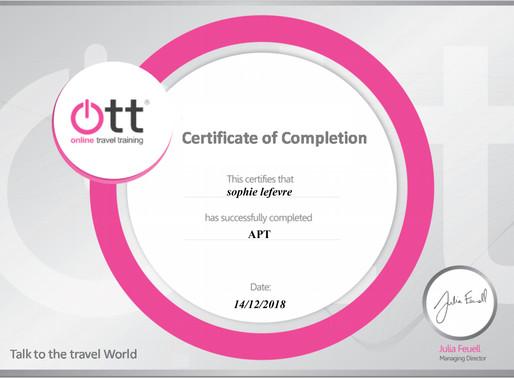 Sophie LeFevre has completed the APT online training programme