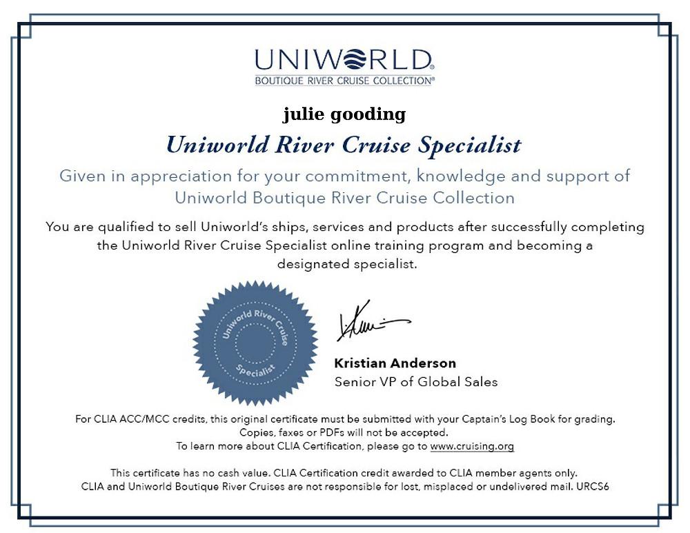 Uniworld River Cruise training