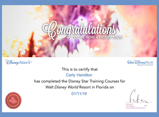 Carly Hamilton has completed the specialist training for Walt Disney Resort in Florida