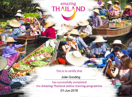 Julie Gooding has completed the Amazing Thailand online training programme