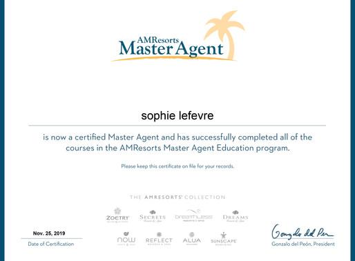 Sophie LeFevre has completed the AMResorts Master Agent Education programme