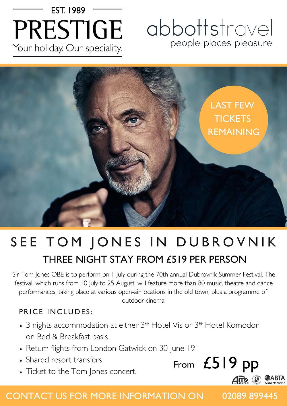 See Tom Jones in Dubrovnik