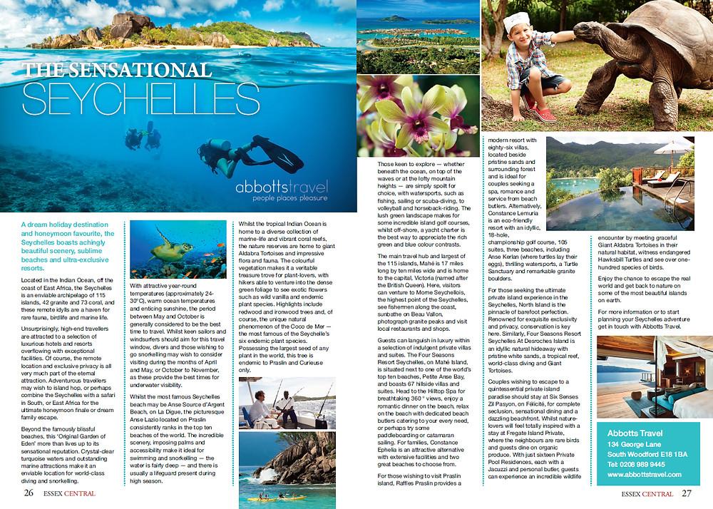 The Sensational Seychelles, Essex Central Magazine