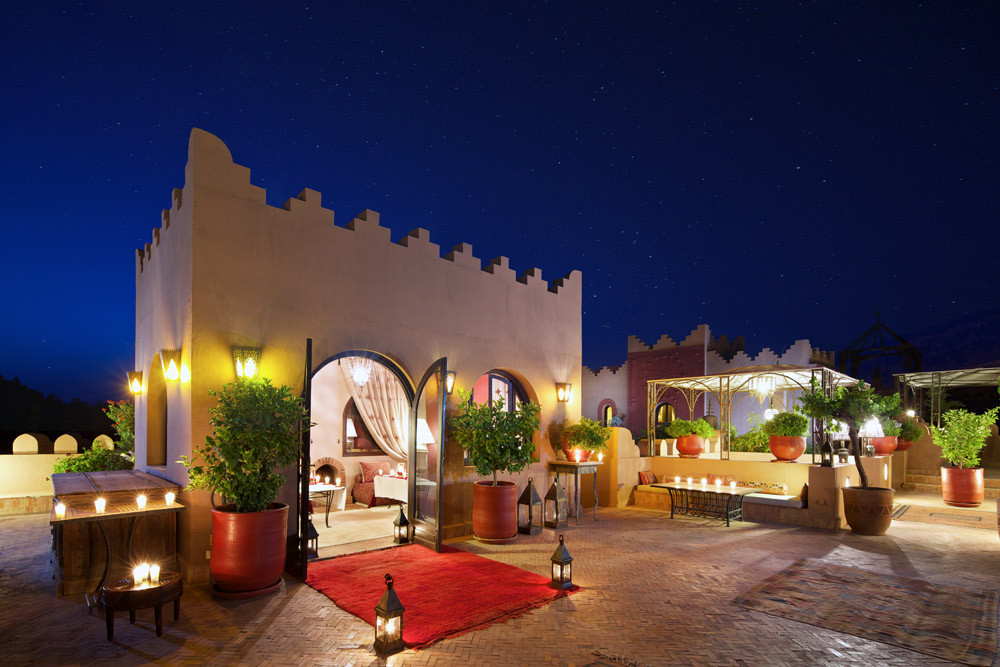 Private Dining Roof Terrace, Kasbah Tamadot, Morocco