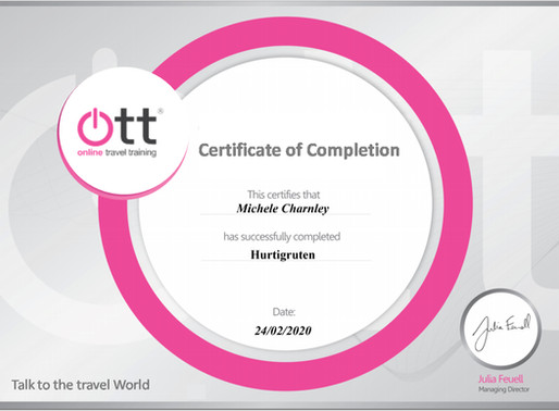 Shelley Charnley has completed the Hurtigruten online travel training