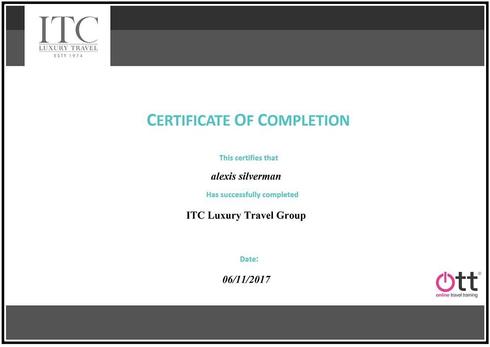 ITC online travel training