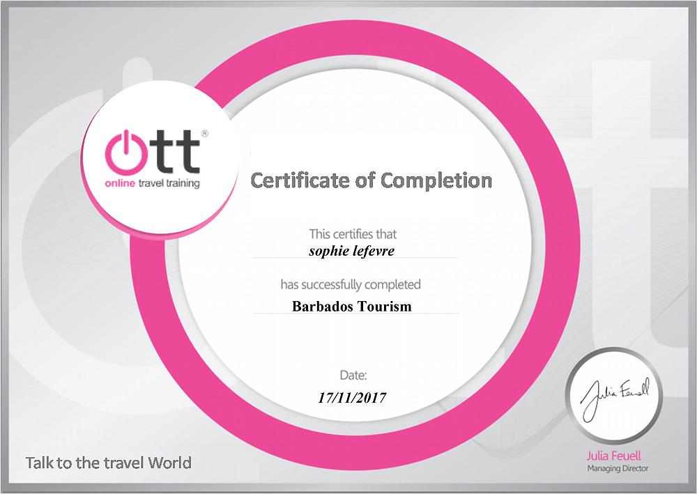 Barbados Tourism specialist training