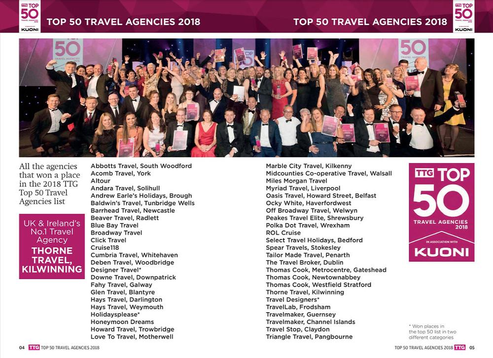 TTG Top 50 Travel Agencies 2018