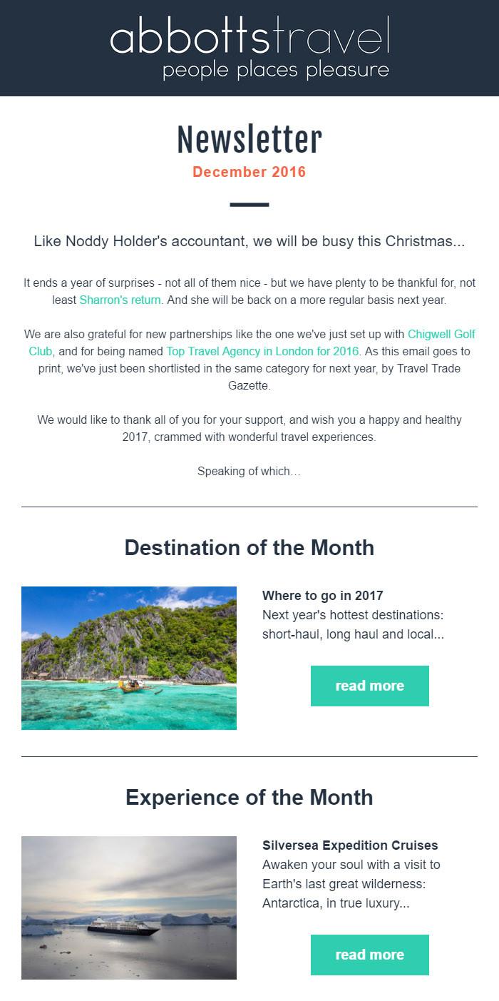 Abbotts Travel - November 2016 Newsletter