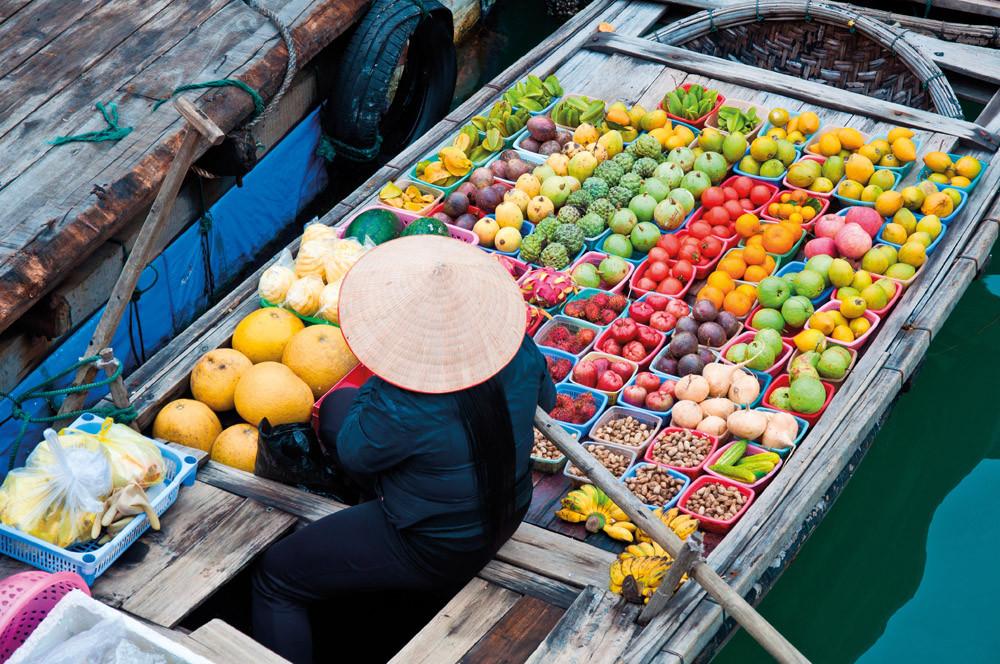 Vietnamese fruit and veg vendor