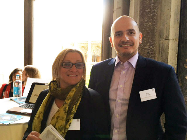 Julie Gooding from Abbotts Travel and Max Tchanturia representing Eagles Hotel Halkidiki, Greece at Small Luxury Hotels Event 24th May 2016 Westminster Abbey