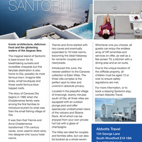 Sensational Santorini, Essex Central Magazine - Dec/ Jan 2020