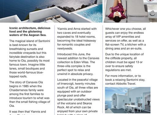 Sensational Santorini, Essex Central Magazine - Dec/ Jan 2020