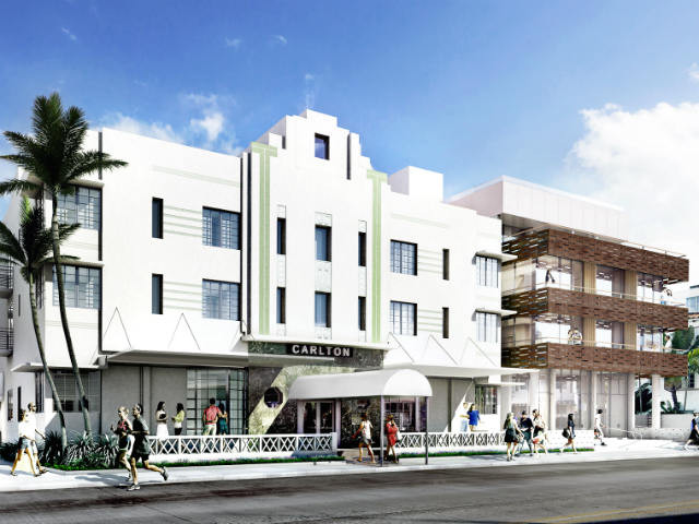 Artists impression of the new Art Deco Wing of the expanded Betsy, South Beach, Miami