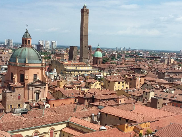 A rooftop view of Bologna