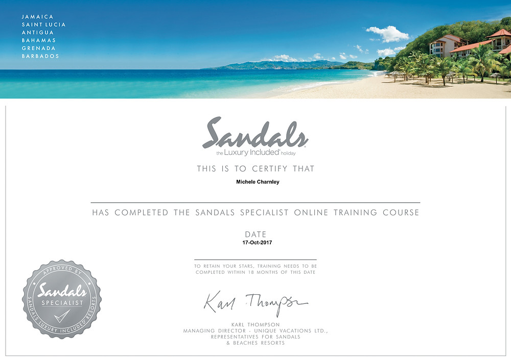 Sandals specialist online training course