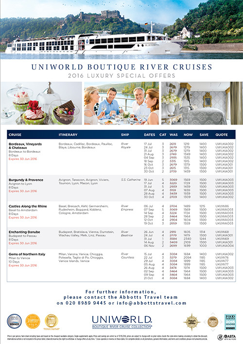 Uniworld Boutique River Cruise  Special Offers